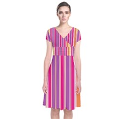 Stripes Colorful Background Pattern Short Sleeve Front Wrap Dress