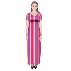 Stripes Colorful Background Pattern Short Sleeve Maxi Dress