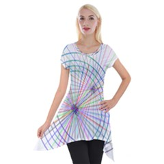 Spirography Vector Clipart Short Sleeve Side Drop Tunic