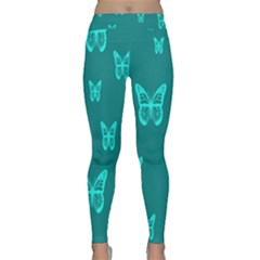 Teal Butterfly Background Classic Yoga Leggings