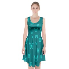 Teal Butterfly Background Racerback Midi Dress