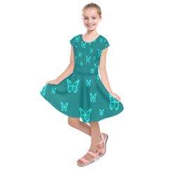 Teal Butterfly Background Kids  Short Sleeve Dress