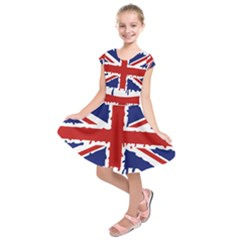Uk Splat Flag Kids  Short Sleeve Dress