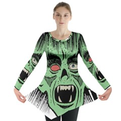 Zombie Face Vector Clipart Long Sleeve Tunic