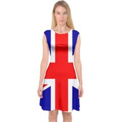 Union Jack Flag Capsleeve Midi Dress
