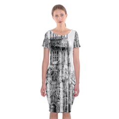 York Cathedral Vector Clipart Classic Short Sleeve Midi Dress