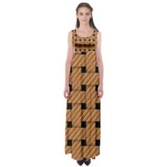 Wood Texture Weave Pattern Empire Waist Maxi Dress