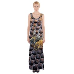 Worker Bees On Honeycomb Maxi Thigh Split Dress