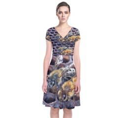 Worker Bees On Honeycomb Short Sleeve Front Wrap Dress