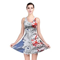 Water Reflection Abstract Blue Reversible Skater Dress