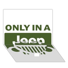 Only In A Jeep Logo Heart Bottom 3d Greeting Card (7x5)