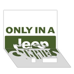 Only In A Jeep Logo Love Bottom 3d Greeting Card (7x5)