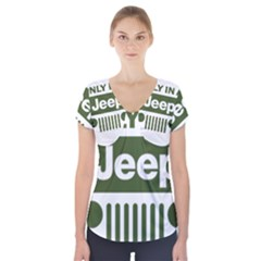 Only In A Jeep Logo Short Sleeve Front Detail Top