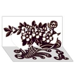 Purple Wood Ornaments Twin Hearts 3D Greeting Card (8x4)
