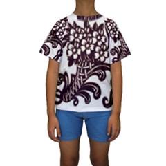 Purple Wood Ornaments Kids  Short Sleeve Swimwear
