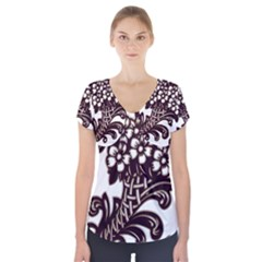 Purple Wood Ornaments Short Sleeve Front Detail Top
