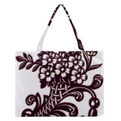 Purple Wood Ornaments Medium Zipper Tote Bag