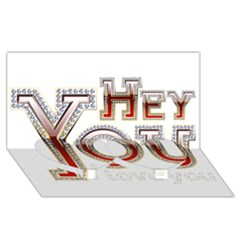 Hey You I Love You Twin Heart Bottom 3d Greeting Card (8x4)