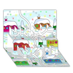 Winter Magical Landscape Miss You 3d Greeting Card (7x5)