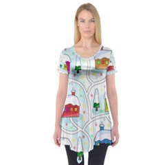 Winter Magical Landscape Short Sleeve Tunic