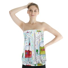 Winter Magical Landscape Strapless Top