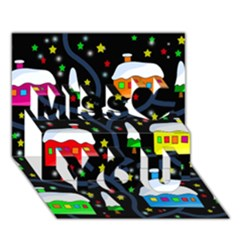Winter Magical Night Miss You 3d Greeting Card (7x5)