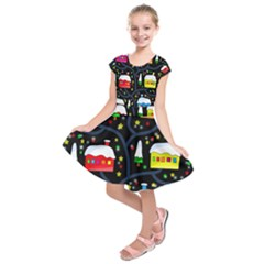 Winter magical night Kids  Short Sleeve Dress