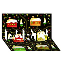 Winter  Night  Party 3d Greeting Card (8x4)