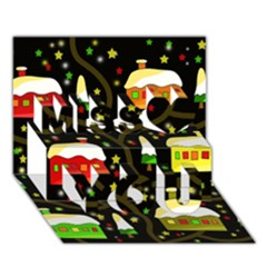 Winter  night  Miss You 3D Greeting Card (7x5)