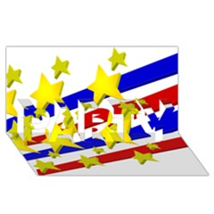 Flag Ransparent Cartoon American PARTY 3D Greeting Card (8x4)