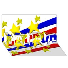 Flag Ransparent Cartoon American BELIEVE 3D Greeting Card (8x4)
