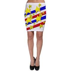 Flag Ransparent Cartoon American Bodycon Skirt