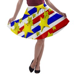 Flag Ransparent Cartoon American A Line Skater Skirt