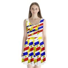 Flag Ransparent Cartoon American Split Back Mini Dress