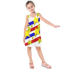 Flag Ransparent Cartoon American Kids  Sleeveless Dress