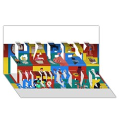 The Oxford Dictionary Illustrated Happy New Year 3d Greeting Card (8x4)