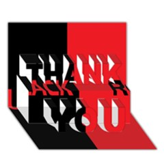 Black Red Splitting Typography THANK YOU 3D Greeting Card (7x5)