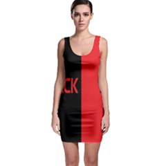 Black Red Splitting Typography Sleeveless Bodycon Dress