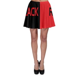 Black Red Splitting Typography Skater Skirt