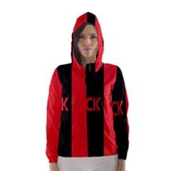 Black Red Splitting Typography Hooded Wind Breaker (women)