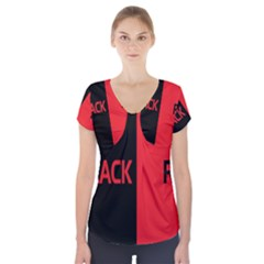 Black Red Splitting Typography Short Sleeve Front Detail Top