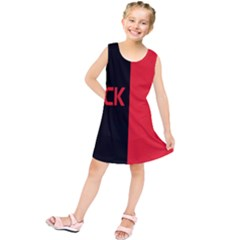Black Red Splitting Typography Kids  Tunic Dress