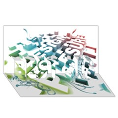 Design For Plesure Best Sis 3d Greeting Card (8x4)