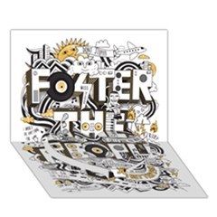 Foster The People Creative Typography Heart Bottom 3D Greeting Card (7x5)