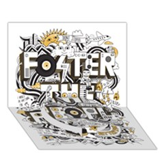 Foster The People Creative Typography Circle Bottom 3d Greeting Card (7x5)
