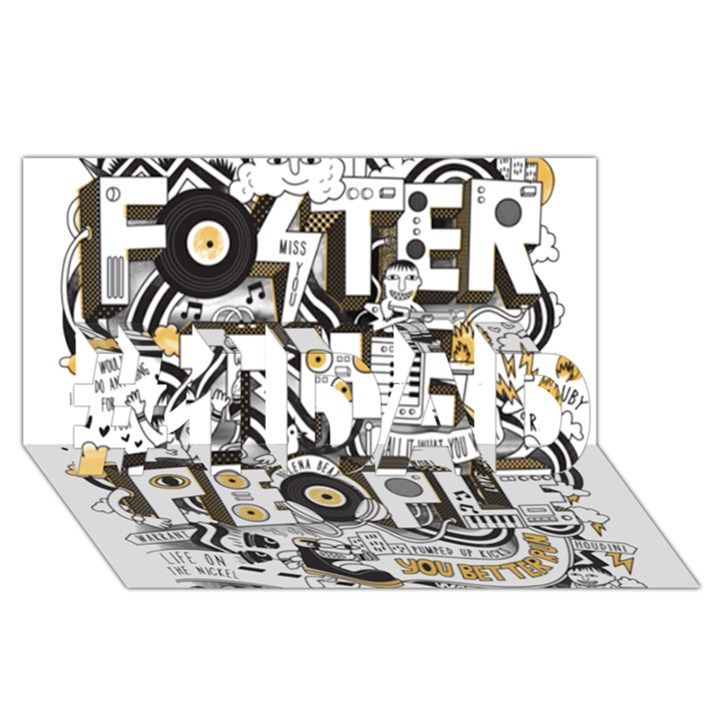 Foster The People Creative Typography #1 DAD 3D Greeting Card (8x4)
