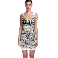 Foster The People Creative Typography Sleeveless Bodycon Dress
