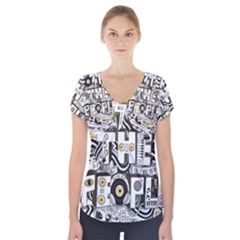 Foster The People Creative Typography Short Sleeve Front Detail Top