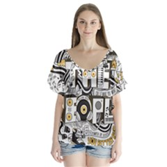 Foster The People Creative Typography Flutter Sleeve Top