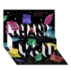 Colorful Floral Design Thank You 3d Greeting Card (7x5)